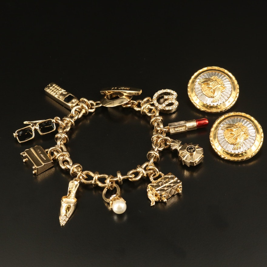 St. John Charm Bracelet and Medallion Earrings