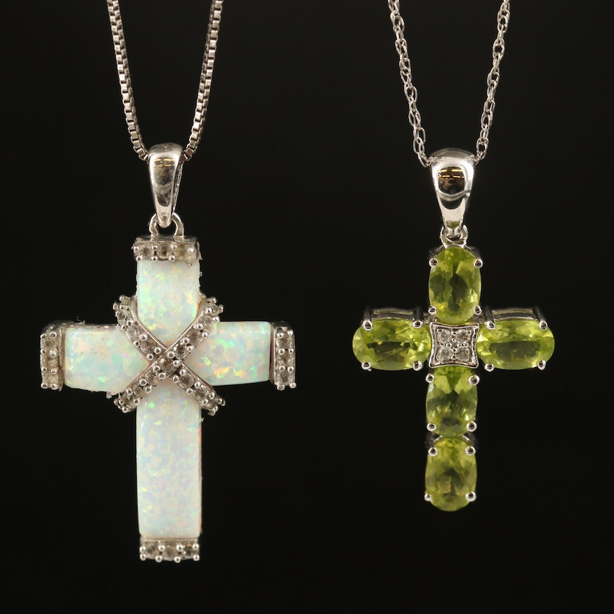 10K Opal and Sterling Peridot Cross Pendant Necklaces