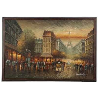 Parisian Street Scene Oil Painting, Late 20th Century