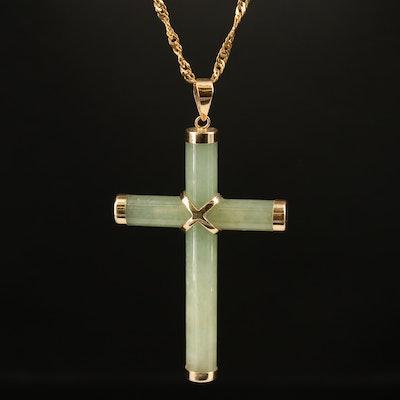 14K Jadeite Cross Pendant on 10K Singapore Chain Necklace