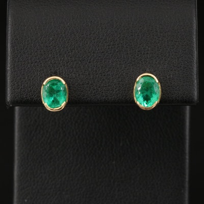 18K Emerald Oval Stud Earrings
