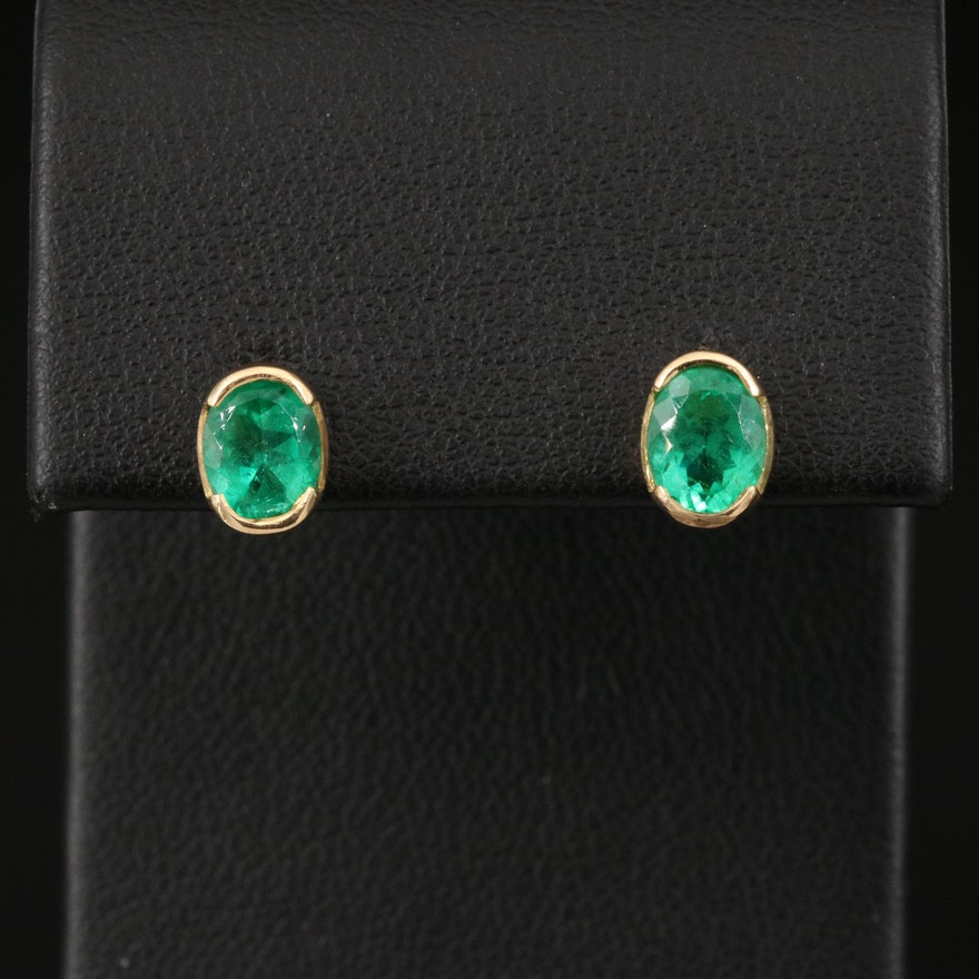 18K Emerald Oval Stud Earrings
