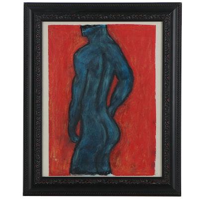 Pastel Drawing of Blue Figure, circa 2000