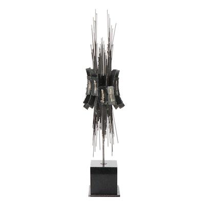 Studio A Brutalist Style Metal Sculpture on Gabbro Base