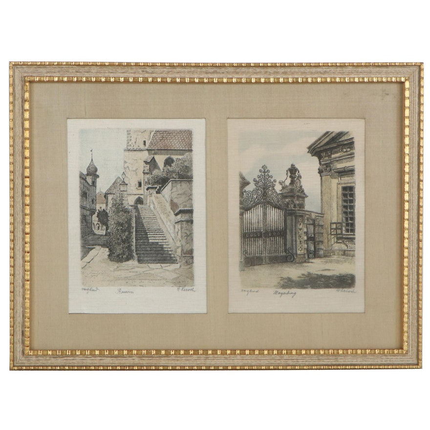"""Hans Leisch Hand-Colored Etchings """"Mayerling"""" and """"Rossini"""""""