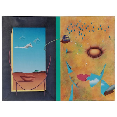 """Rick Garcia Large-Scale Surrealist Acrylic Painting """"Point of View,"""" 1992"""