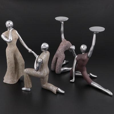 Texture Home Decor Figural Candlesticks and Figurine, Contemporary
