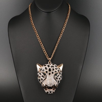 Rhinestone and Enamel Panther Head Necklace