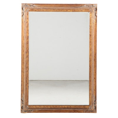 Contemporary Distressed Finish Beveled Edge Wall Mirror