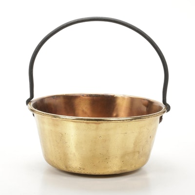 Wrought Iron and Brass Plated Copper Cauldron, 20th Century