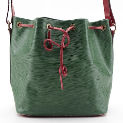 Louis Vuitton Noé Bag in Borneo Green/Castilian Red Epi and Smooth Leather