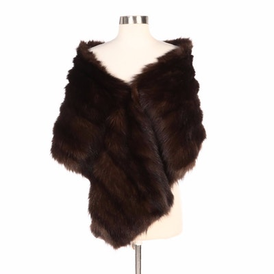 Brown Muskrat Fur Stole