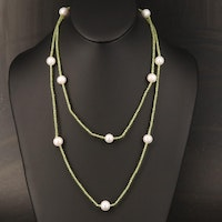 Pearl and Peridot Endless Station Necklace