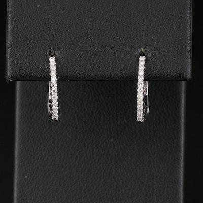 14K Diamond Hinged Huggie Earrings