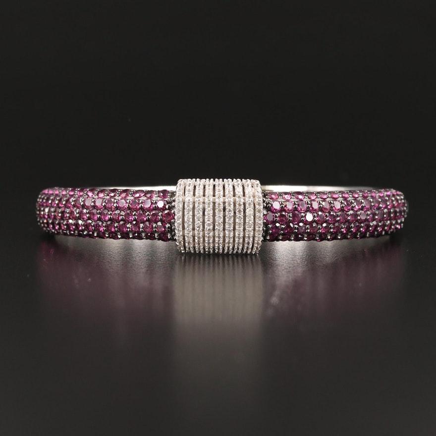 Sterling Pavé Garnet and Zircon Hinged Bracelet