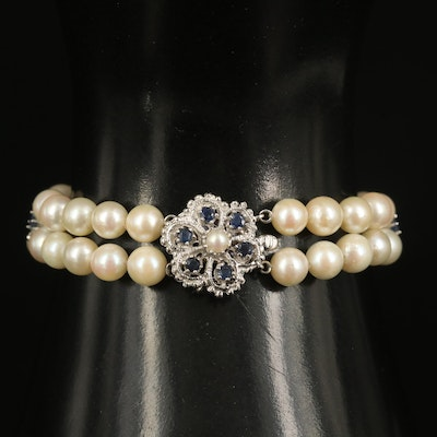Vintage Style 14K Pearl and Sapphire Floral Bracelet