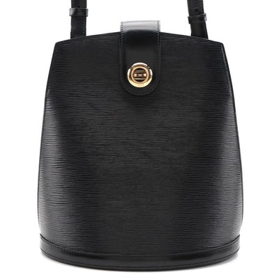 Louis Vuitton Cluny Bucket Bag in Black Epi and Smooth Leather