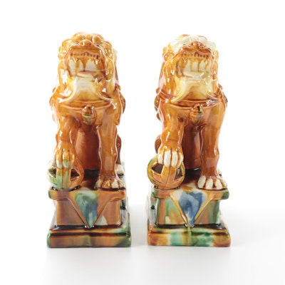 Chinese Sancai Glazed Ceramic Guardian Lion Figurines