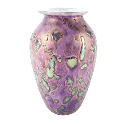 """Robert Eickholt """"Tide Pool"""" Iridescent Art Glass Vase"""