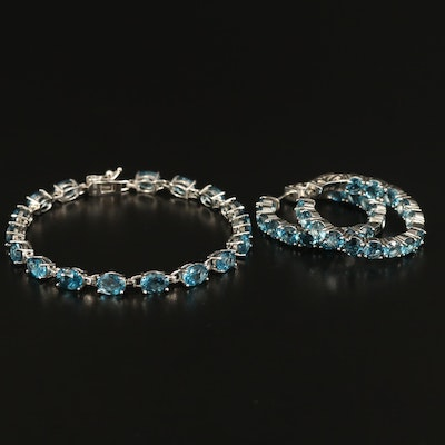 Sterling London Blue Topaz Line Bracelet and Inside-Out Hoop Earrings