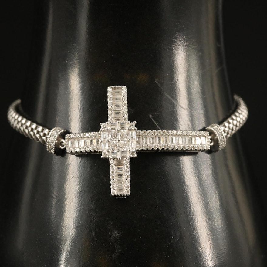 Sterling Cubic Zirconia Cross Bracelet