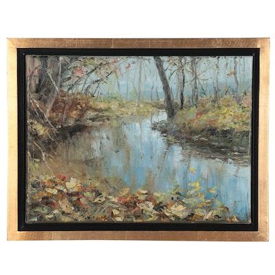 """Garncarek Aleksander Landscape Oil Painting """"November"""""""