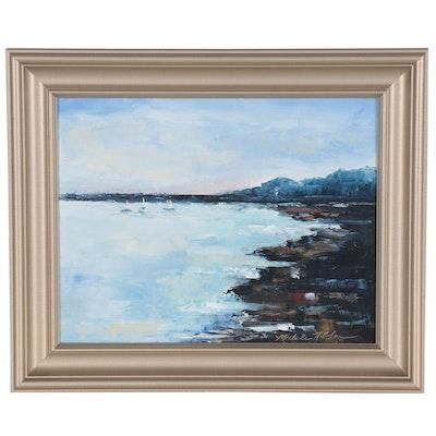 Michele Helders Landscape Oil Painting of Shoreline