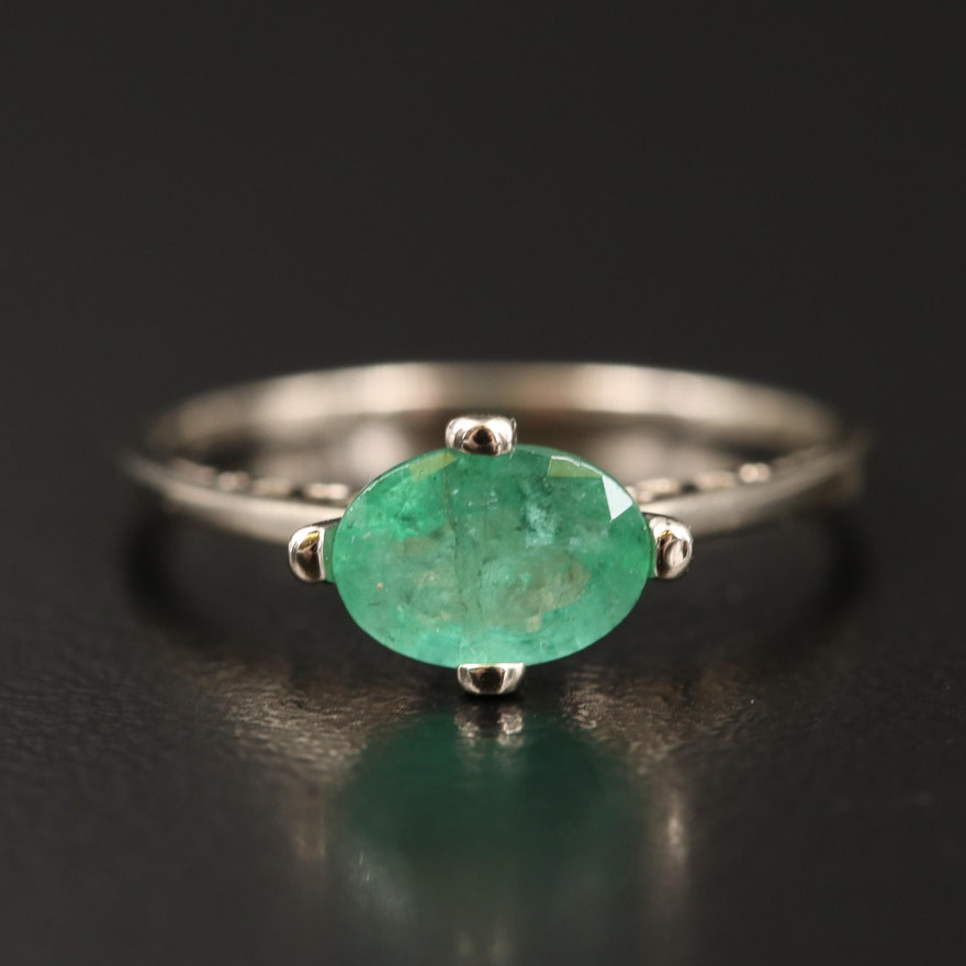 14K Emerald East-West Solitaire Ring