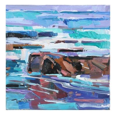 "Jose Trujillo Oil Painting ""The Tide Rolling In,"" 2021"