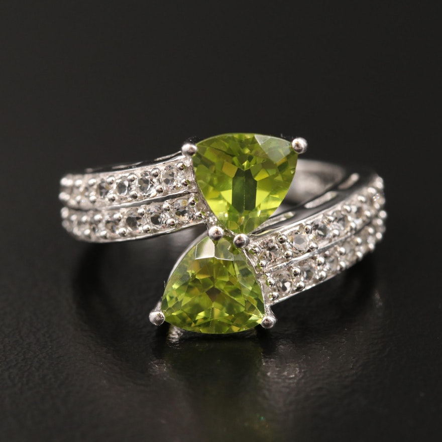 Sterling Peridot and White Topaz Bypass Ring