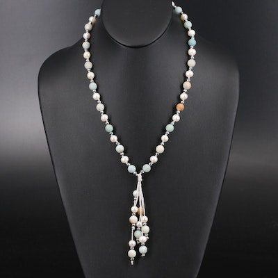 Sterling Pearl, Jasper and Quartzite Sautoir