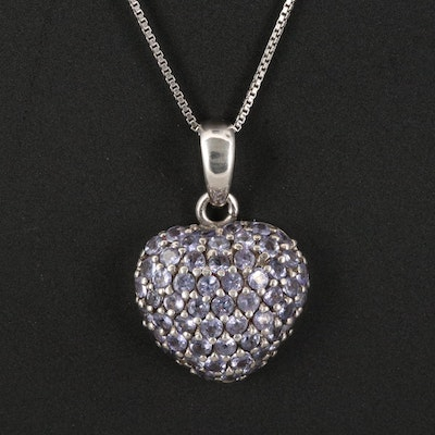 Sterling Tanzanite Heart Pendant Necklace