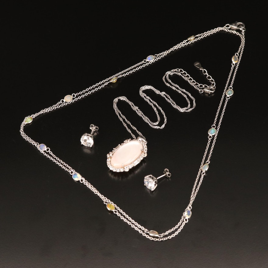Sterling Necklaces and Earrings Including Opal, Mother of Pearl and Topaz