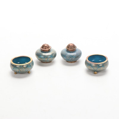 Chinese Cloisonné Salt and Pepper Shakers and Salt Cellars