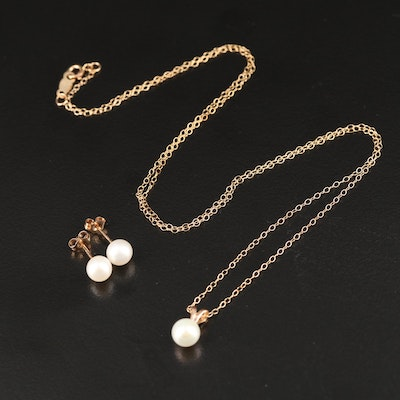 10K Pearl Pendant Necklace and Stud Earrings Set