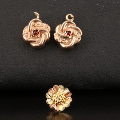 Scrap 10K Rose and Tri-Gold Single Earring and Garnet Earring Enhancers