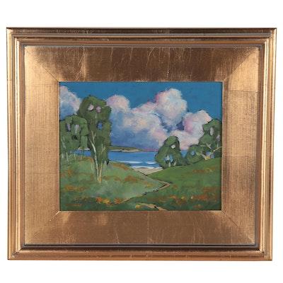 Lynne French Landscape Oil Painting of Coastal Scene