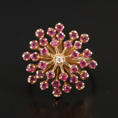 14K Ruby and Diamond Cluster Ring