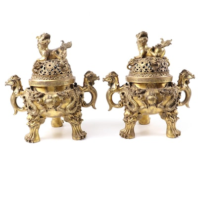 Pair of Chinese Gilt Brass Censers with Guardian Lion and Dragon Motifs