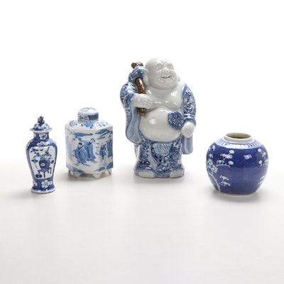 East Asian Blue and White Porcelain Buddha Statue and Ginger Jars