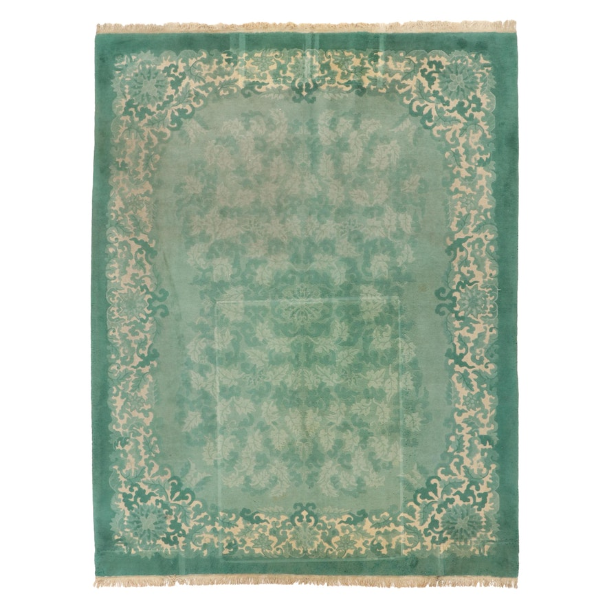 8'11 x 11'8 Hand-Knotted Chinese Carved Pile Room Sized Rug