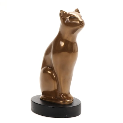 "Art Deco Style Bronze Cat Sculpture after Floyd DeWitt ""Bast"""