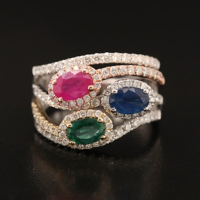 EFFY 14K Tri-Colored 1.01 Diamond Ring with Sapphire, Emerald and Ruby