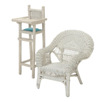 Painted Wicker Doll-Size High Chair and Child's Armchair