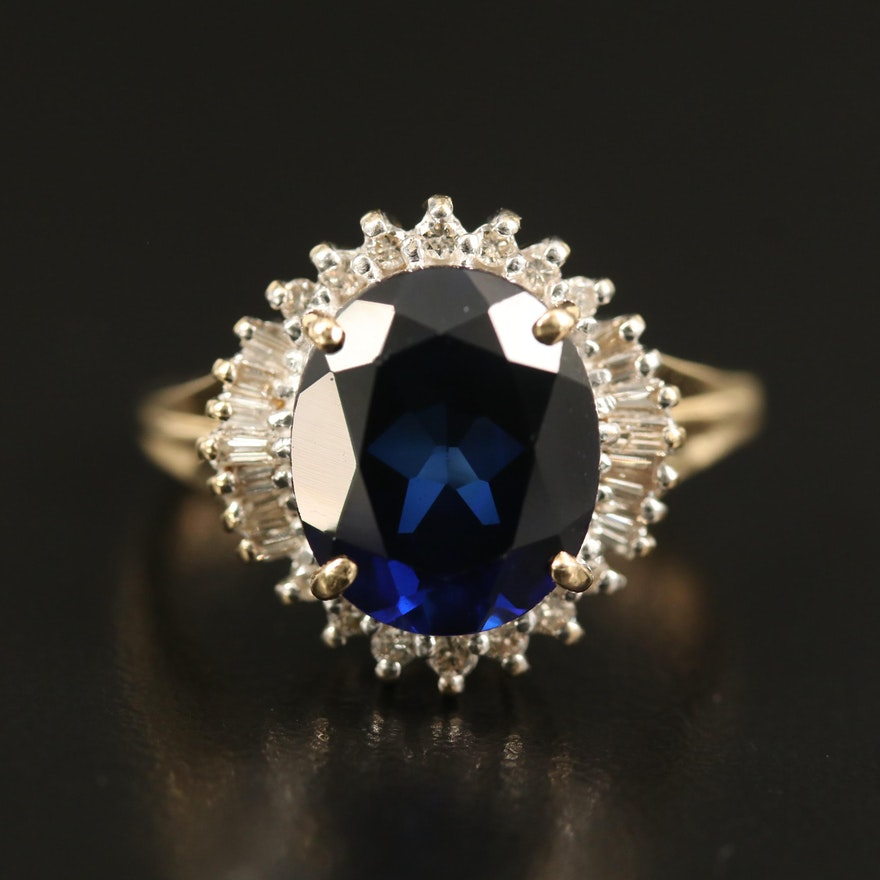 14K Sapphire and Diamond Ballerina Ring