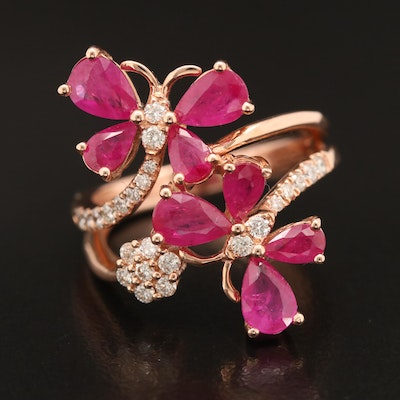 EFFY 14K Rose Gold Ruby and Diamond Butterfly Bypass Ring