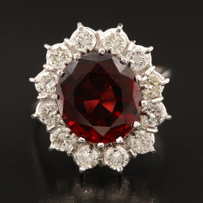 18K Garnet and 1.26 CTW Diamond Halo Ring