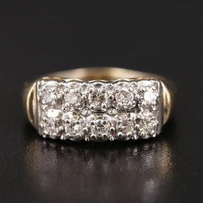 Vintage 14K Diamond Double Row Ring