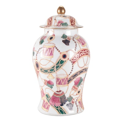 Chinese Drum Motif Enameled Ceramic Lidded Jar