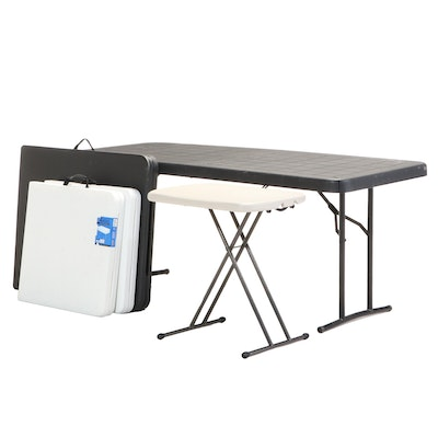Contemporary Plastic and Metal Adjustable Folding Tables Featuring Lifetime